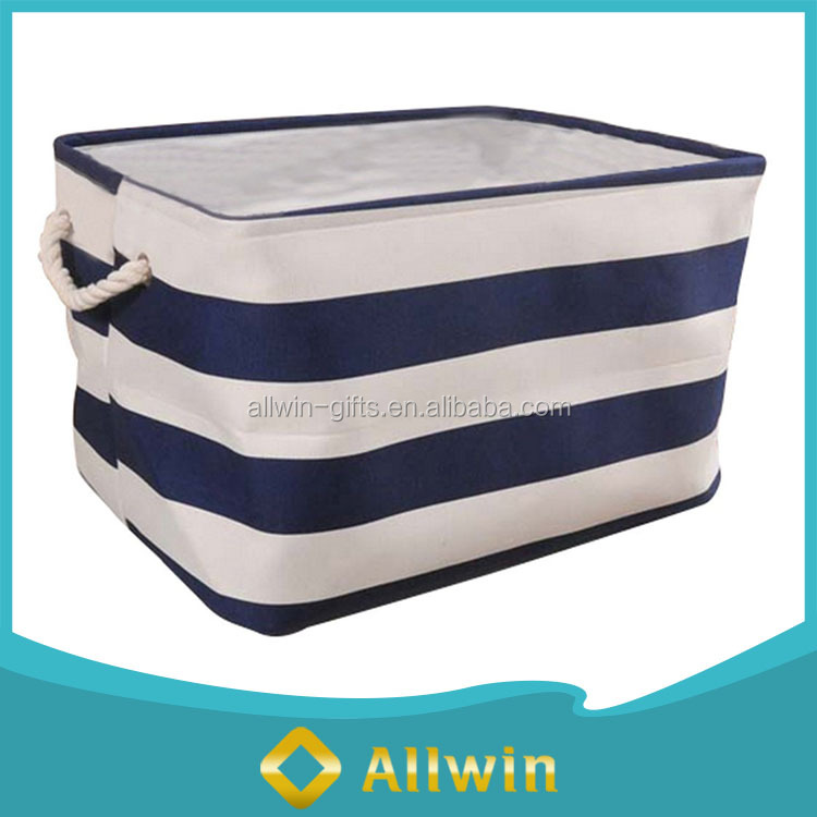 home essential canvas fabric collapsible storage bin with rope handle with collapsable storage bins