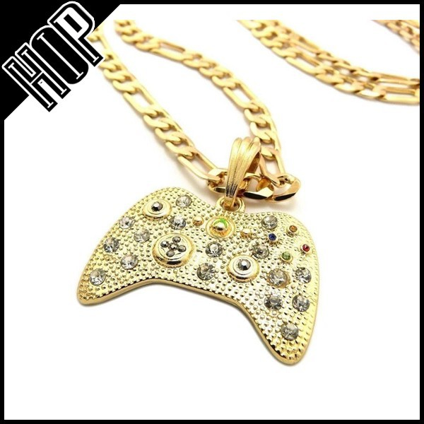 New 18K Iced Game Controller Men Necklace