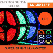 RGB LED STRIP SMD 5050 60LED/M TAPE STRIPE LIGHT WATERPROOF IP65 SILICON GEL CE ROHS CERTIFICATE 5M/ROLL 14.4W/M SUPER BRIGHT