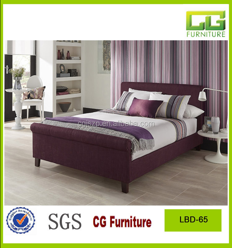 purple color twin size fabric soft platform bed with wooden slats bed base