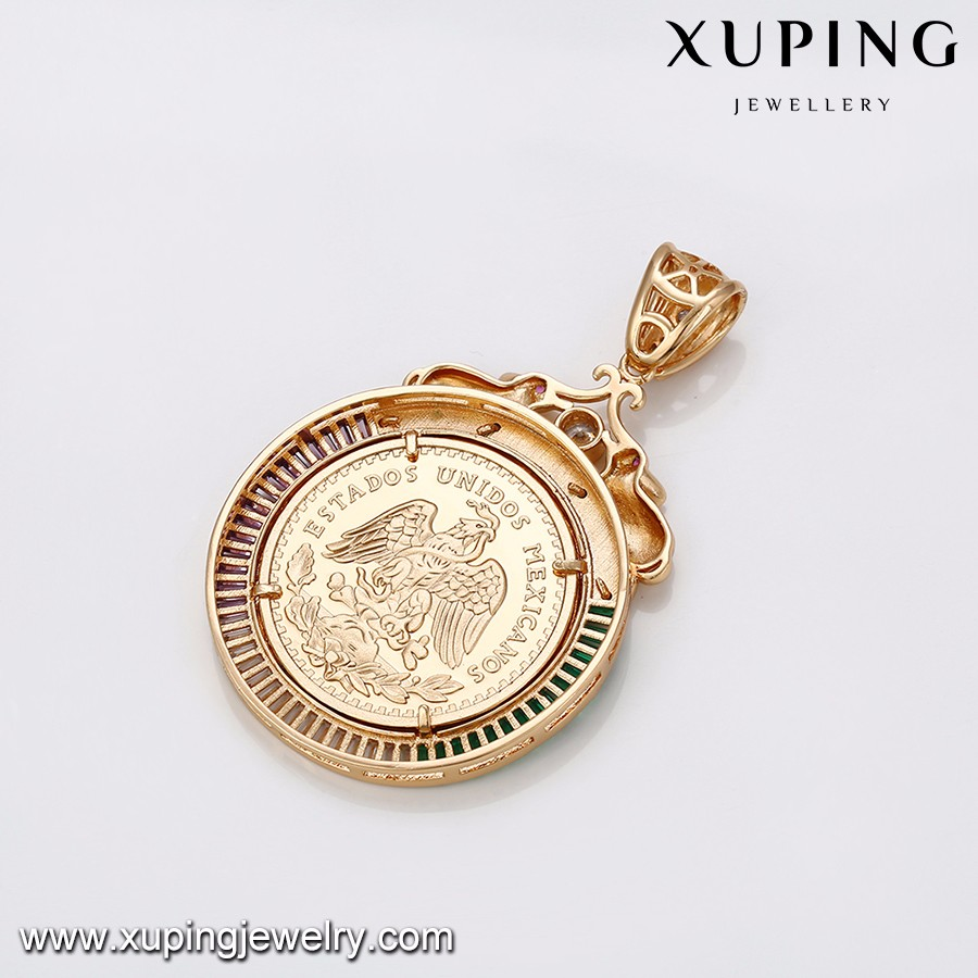 33069-Xuping jewelry Crystals 18K Mexican Coin Jewelry Pendant