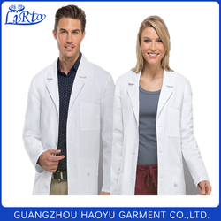 Fashionable long sleeve doctor gown uniform design unisex white lab coats
