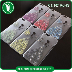 Mobile Accessories Wedding Dress Girl Design Shining Bling Crystal Diamond Hard Back Case Skin Cover For iphone 6 case