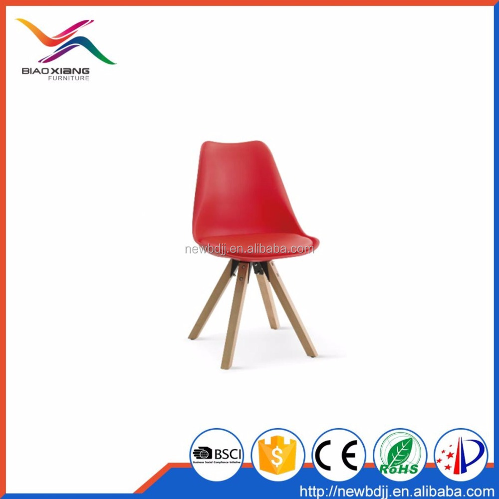 New Designs For Restaurant Wood Legs Leather PU Plastic Chair