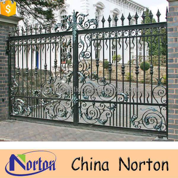 Automated antique wrought iron driveway gate NTIG-108A