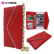Fashion handmade metal corner diamond magnetic lids PU leather case for Apple iphone6 plus