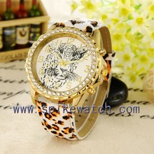 Leopard style latest diamond women wristwatch hot selling african watches