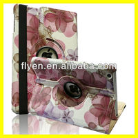 For Apple iPad Mini 360 Rotating Flower Pattern Leather Case Cover Swivel Stand