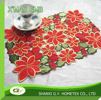 christmas applique embroidery pattern polyester placemat, table cloth, table runner