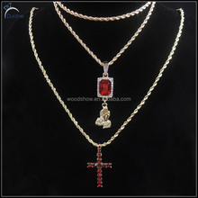 Fashion hip hop ruby pendants cross cremation pendant jewelry