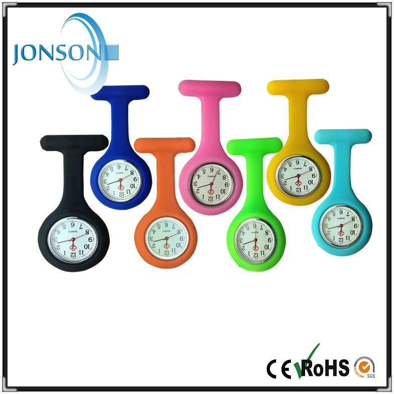 Promotional large stock Various color fob pocket nurses watch silicone