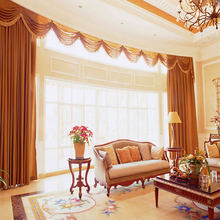 Electric luxury valance hotel curtain in blackout fabric remote control