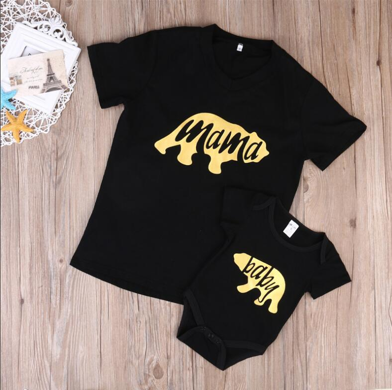 2017 New Mom and Baby Clothes Mama Bear Tshirt Tee BABY Bodysuit Family Matching Clothing Set Clothes
