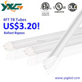2160 lumens output 4' 18W led tube ballast ByPass T8 LED 5000K in stock for North American market