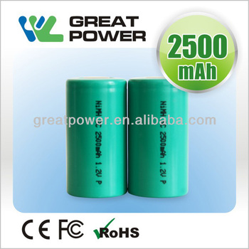 Super power!!1.2v nimh rechargeable battery cell2500mah R14 size