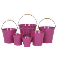 Assorted Sizes Tin Pails Galvanized Metal