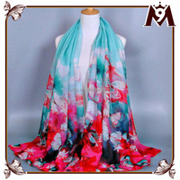 Lady voile flower printed blanket scarf shawl