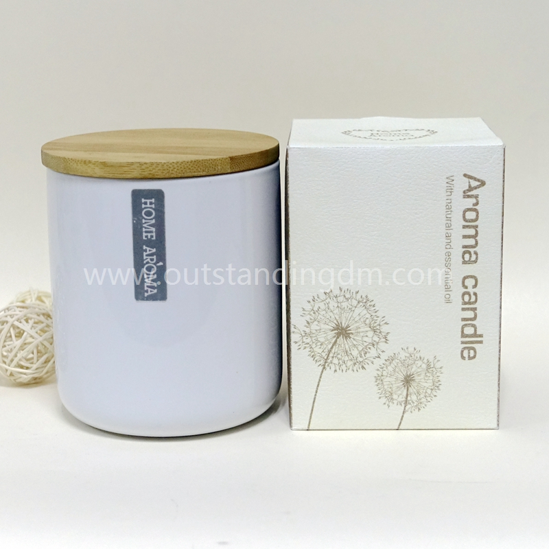 Scented Creamic Candle Jar With Lead Free Wick,Bamboo Cap