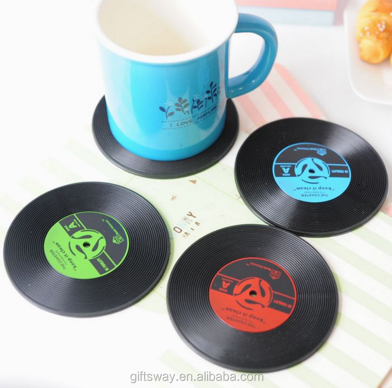 New products for 2016 soft pvc CD vinyl record coaster