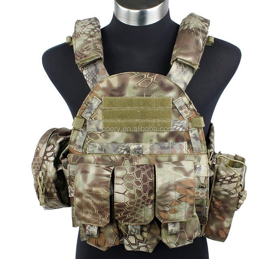 Tactical Military 6094 style Plate Carrier Vest with 3 pouches bag from POERY