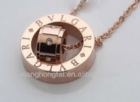 PVD rose imitation jewellery ring pendant necklace with cz stone