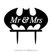 Batman wedding acrylic cake topper with Mr & Mrs hollow