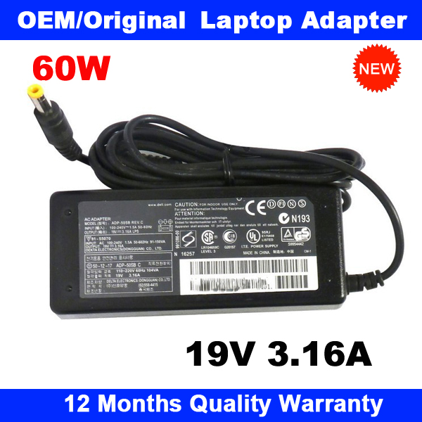 Genuine Laptop AC Adapter Charger for HP 19V 3.16A Power Supply PSU ADP-60ZH D AD-6019R 5.5x2.5mm