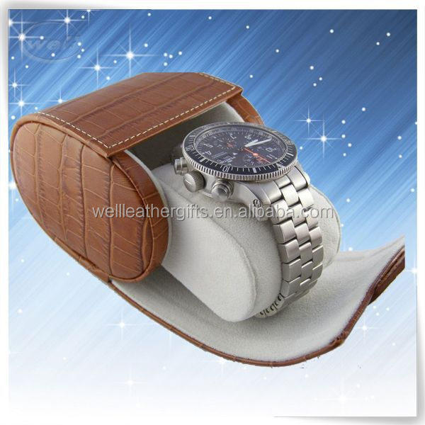 smooth leather Croco leather wood watch display case factory