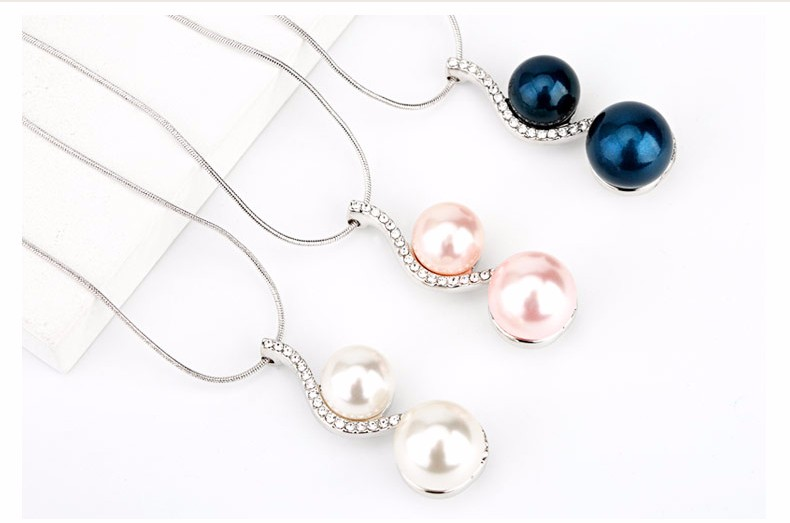 OUXI Factory Wholesale Fine Jewelry Grade Quality Custom S Shape CZ Double Pink Pearl Necklace Pendant