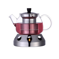 Wholesale glass tea maker coffee pot with warmer base