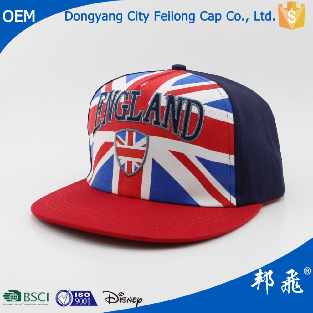 UK England country flag snapback caps hip hop flat bill hat