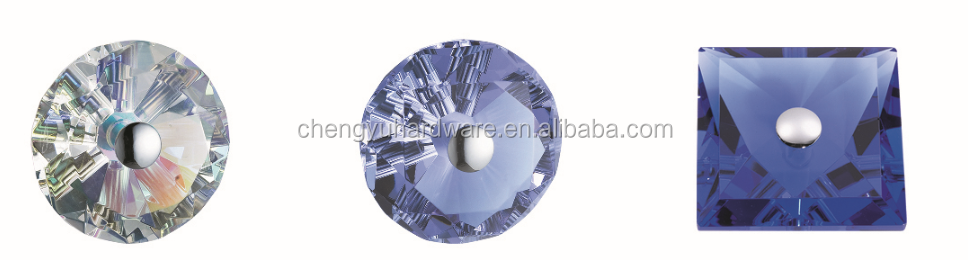 Diamond Shape Colorful Crystal Cut Glass Door Handle and Knob