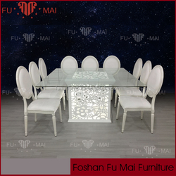 2016 new design modern led glass dining 6 chairs set,tables and chairs for events