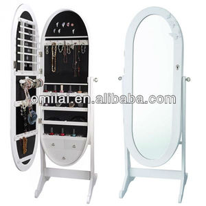 2015 hot sale oval-shaped stand dressing jewelry armoire mirrors