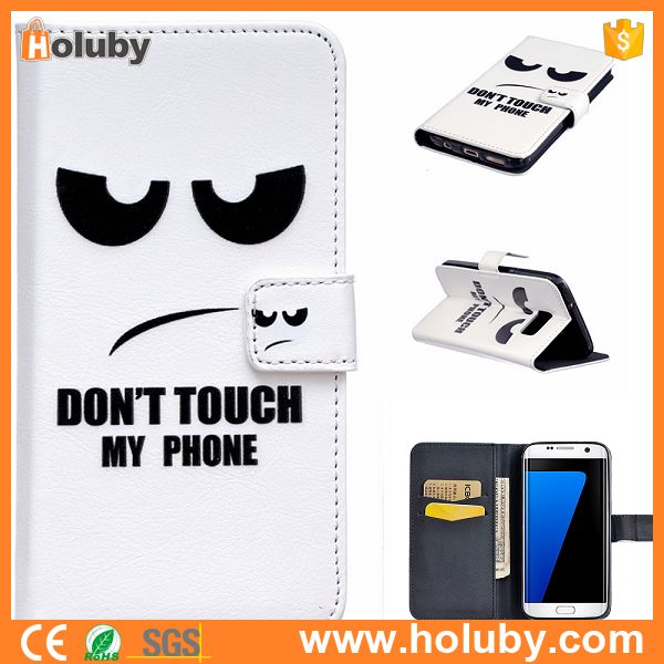 For Samsung Brand Phone Leather Case, Don't Touch My Phone Leather Case Cover for Samsung S7 S7edge S6 S6 edge S5
