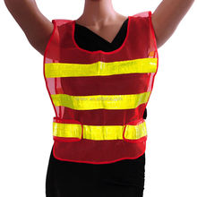 Ansi Hi vis Red Yellow conspicuity vest with pvc reflective taps road and working safety warning sleevel