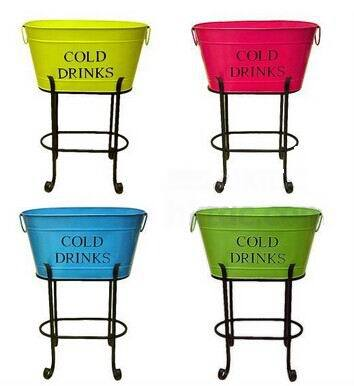 Galvanised large metal beverage tubs with stand