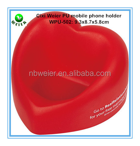 9.3*8.7*5.8cm PU foam anti stress ball/promotional gifts Mobile phone holder/soft style pu toy