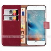 Credit Card Slots Synthetic Leather Wallet Mobile Phone Case Back Cover For iPhone 7