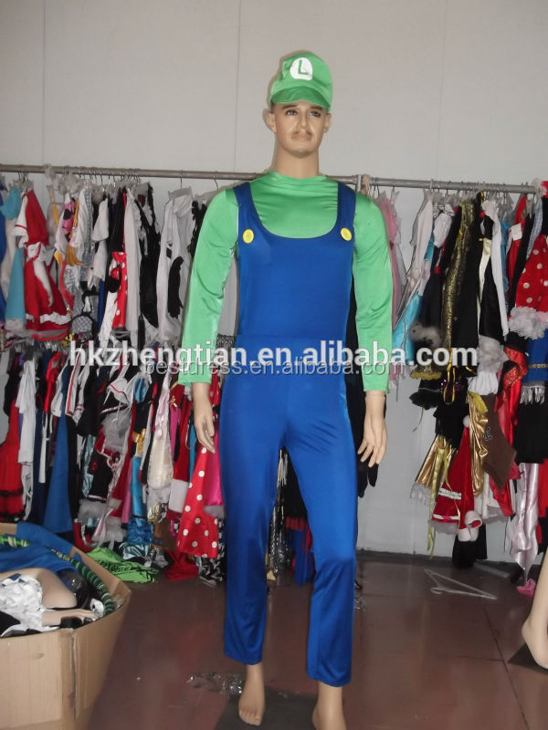 wholesale/retail Super Mario Luigi Brothers Nintendo Video Game Mens Adult Fancy Costume size S-2XL