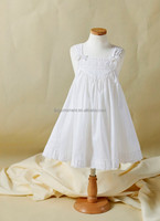 LiNg's White Embroidered Cotton Flower Girl Dress