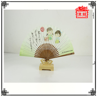 Customized Hand Paper Folding Fan with Bamboo for Baby Shower Gift DZ-07