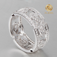 Sterling silver rhodium plated imination vintage China hollow window design ring