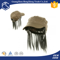 Wholesale custom baseball cap hats with hair attached for women