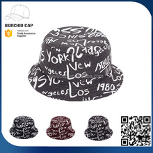 China factory directly stylish printed word graffiti bucket hat for wholesale
