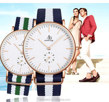 Japan miyota Movt and Nylon Strap Simple Style Customized Couple lover wrist watch