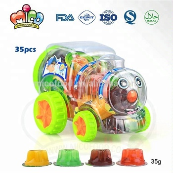 Assorted mini fruit jelly candy in train jar