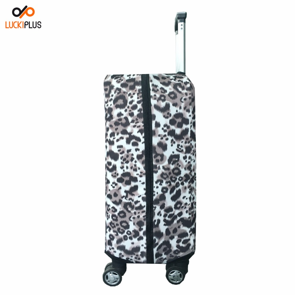 Luckiplus High Elasticity Fabric 350 gms All Zipper Convenient to Open Luggage Cover Leopard Pattern Customized Luggage Cover
