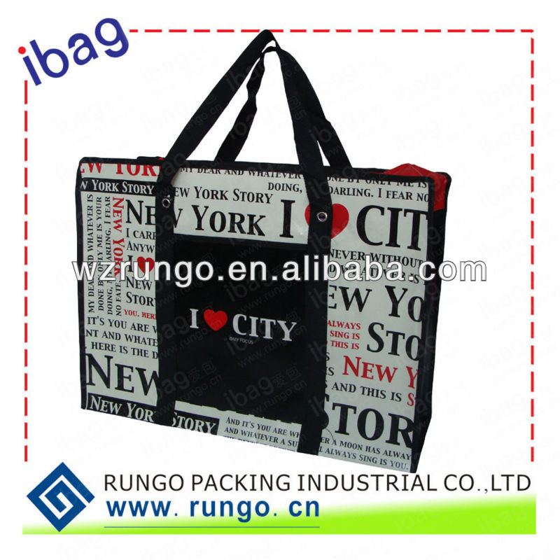 large jombo large zippered laminated pp non woven tote bag