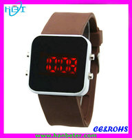 Wholesale mirror face led watches 2015 led light up watches with your own logo